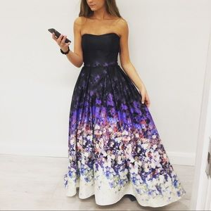 Black and flower print prom dress worn once